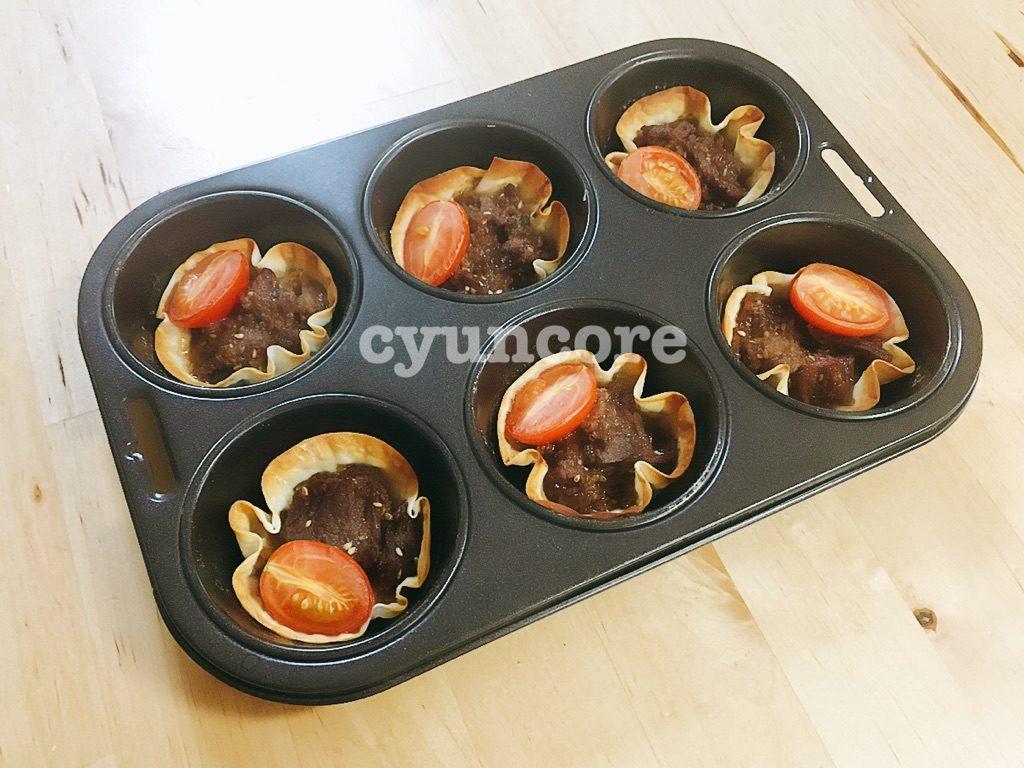 コストコのプルコギアレンジレシピ②詰めて焼くだけ☆プルコギ餃子カップ-2
