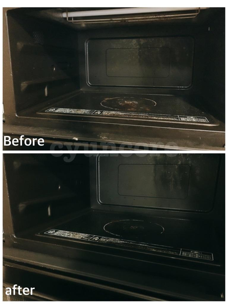 電子レンジを重層で掃除する手順④乾いた布で水分を拭き取る-2