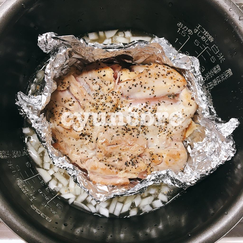 同時調理②ガーリックライスと蒸し鶏
