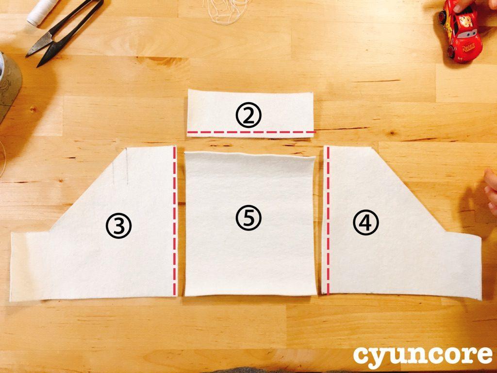 手順③ :②③④⑤を縫い合わせる