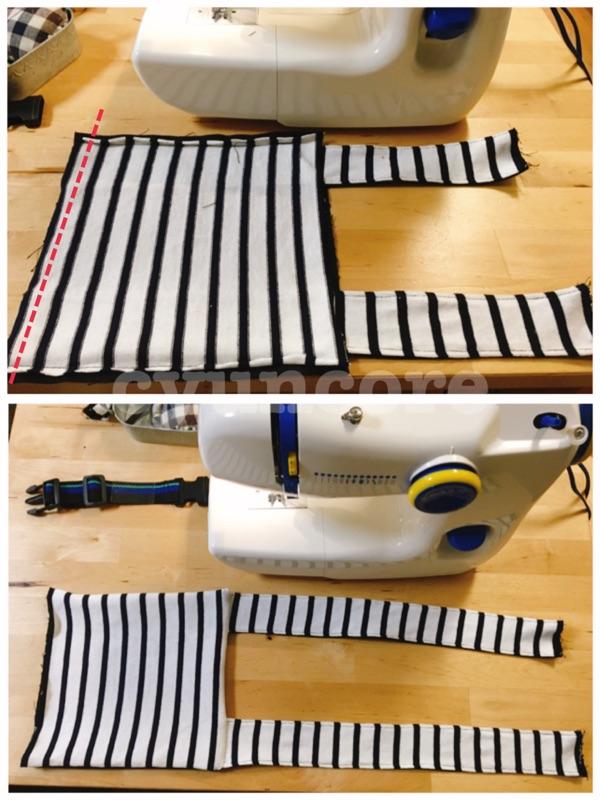 手順④本体に肩紐を縫い合わせる-2