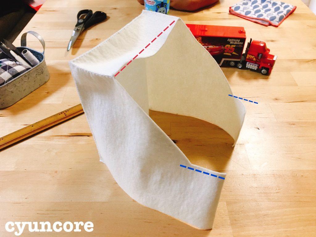 手順④: 手順③に①と⑥を縫い付ける