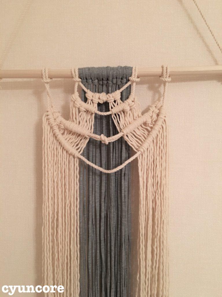 手順⑤4本のロープに紐を結びつけたところ