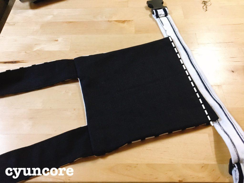 手順⑤本体に腰紐を縫い合わせる