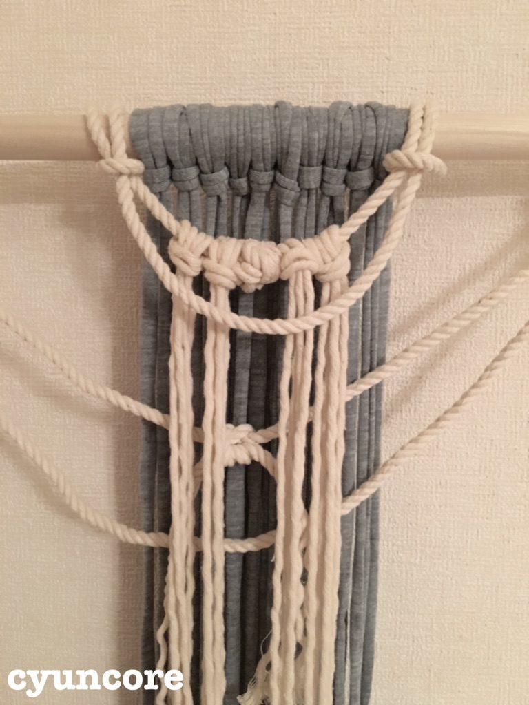 手順③1段目のロープに紐を結びつける