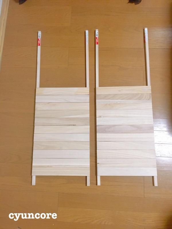 角棒にすのこ板を貼り付ける-2
