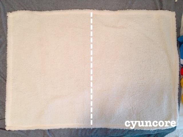 作り方①ダイソーブランケットを筒状に縫う-2