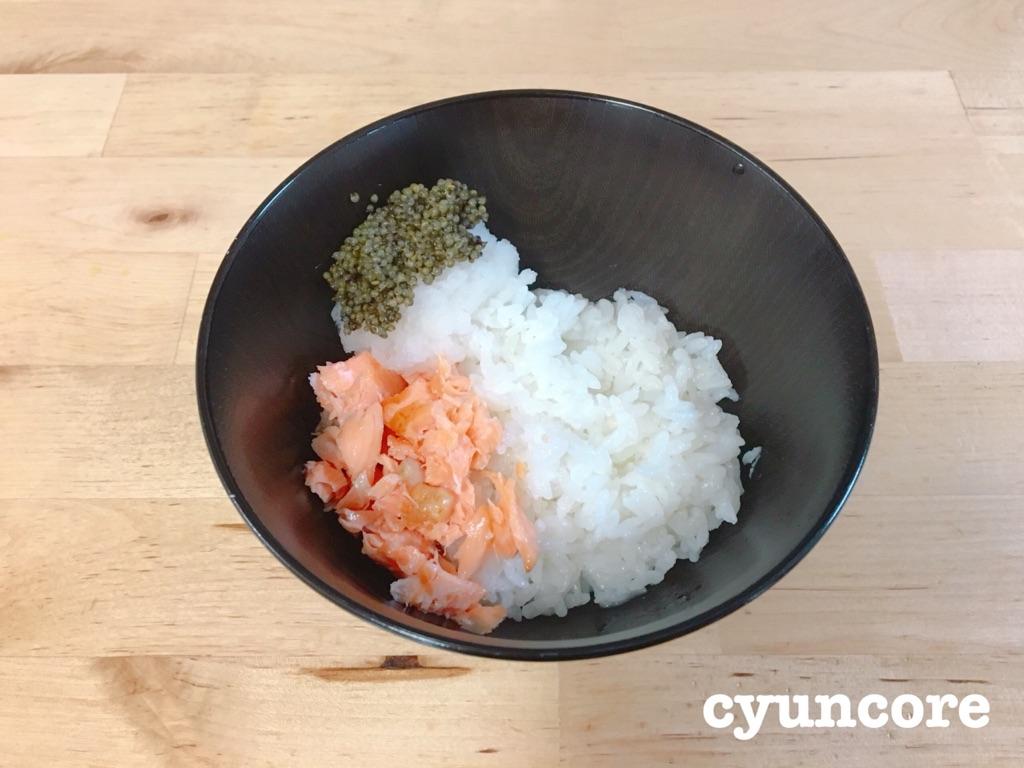 畑のキャビア「とんぶり」レシピ⑤大根おろしと和えて♪鮭おろし丼