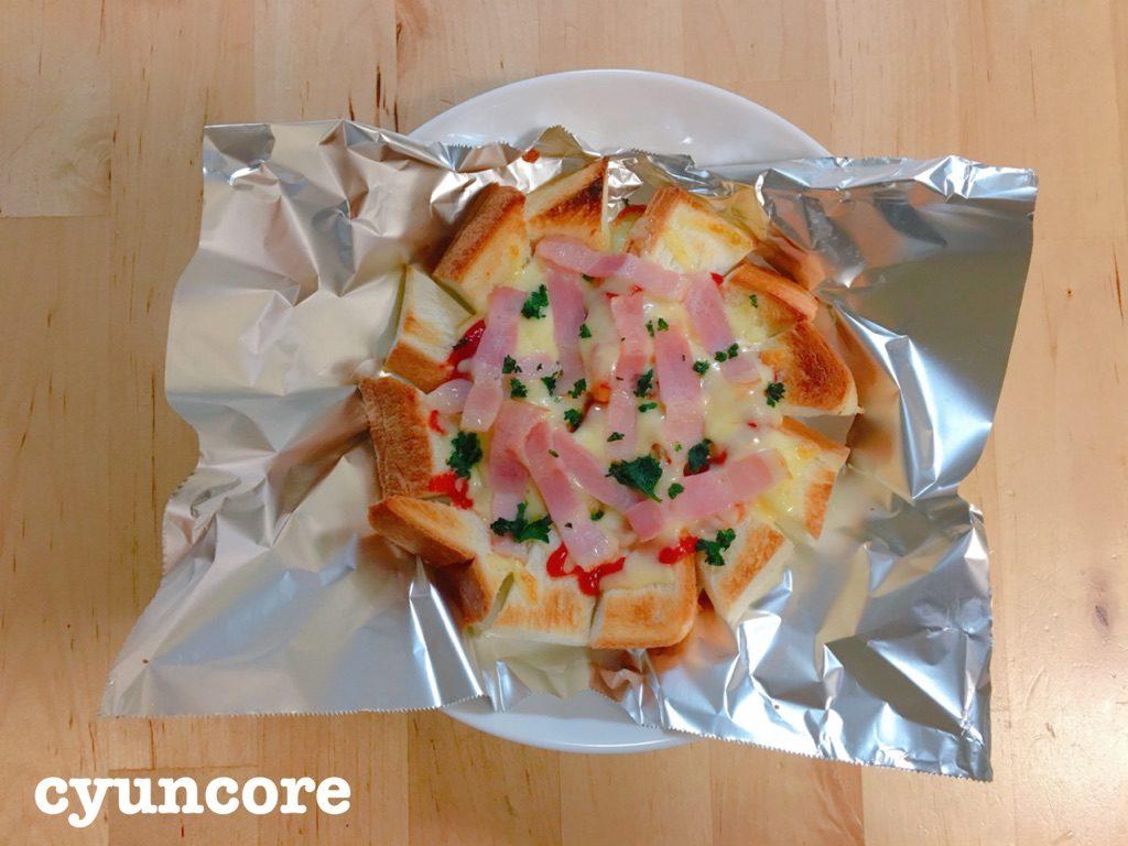 食パンアレンジレシピ⑥まん丸ピザ-2