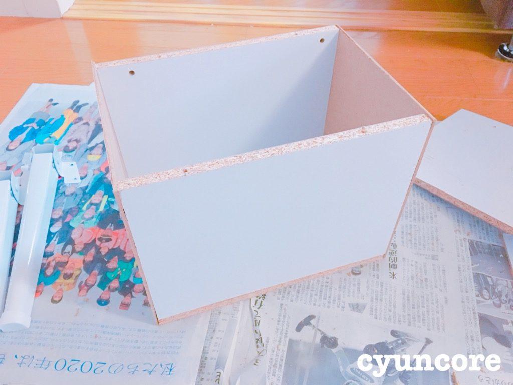 カラーボックスの板とテーブルの脚でニドレッサーをDIY④ 作り方・箱を組み立てる