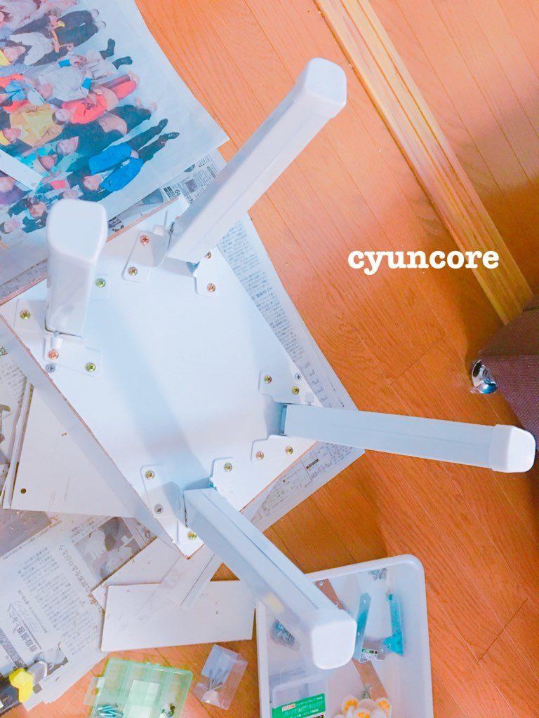 カラーボックスの板とテーブルの脚でニドレッサーをDIY⑤ 作り方・テーブルの脚を取り付ける