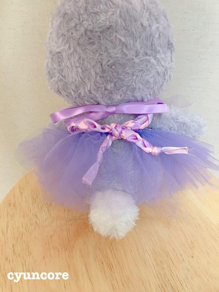 ダイソー水切りネット応用編②三つ編みしたリボンでスカートを作る-2