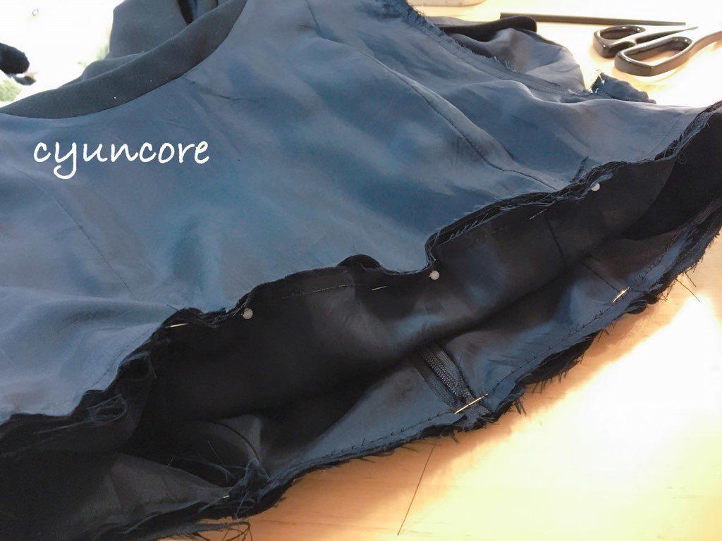 ワンピースの肩幅・丈を詰める方法④トップスとスカートを縫い合わせる-3