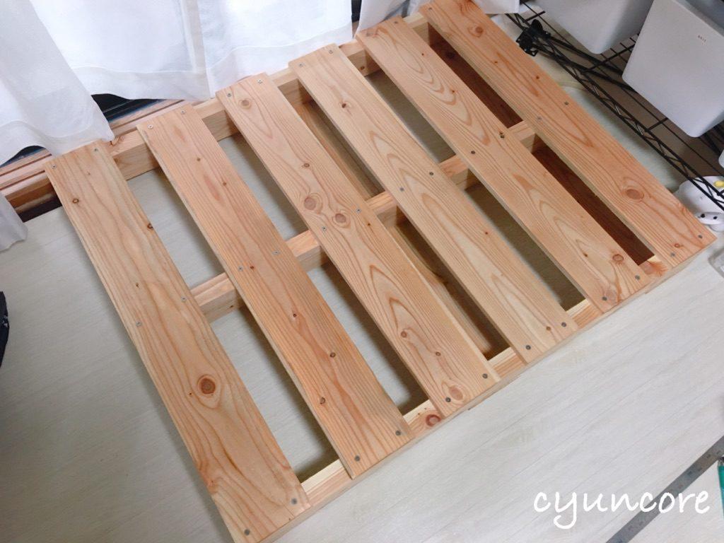 木製パレットでベッドをDIY①組み立て-2