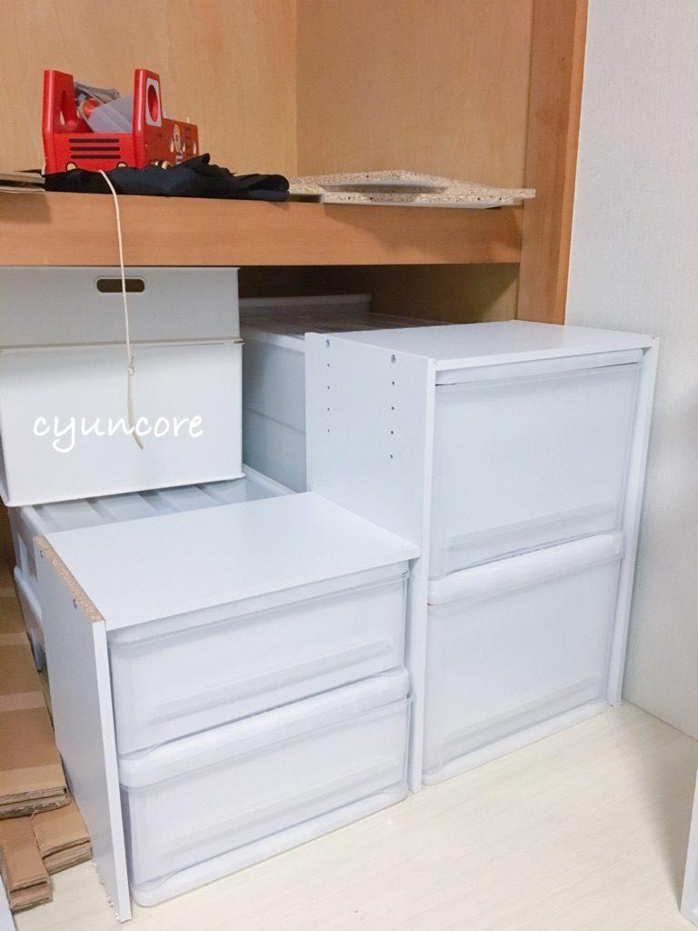 <おまけ>カラーボックスと衣装ケースを使った簡易階段のDIY