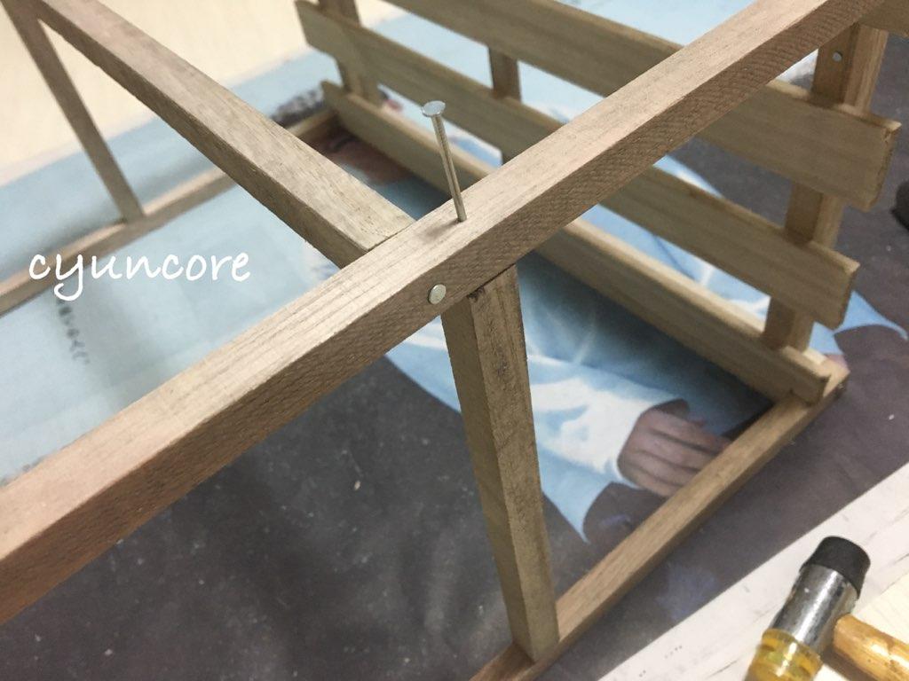 そうめんの木箱を絵本棚にリメイク②100均の木材とそうめんの木箱を組み立てる-4