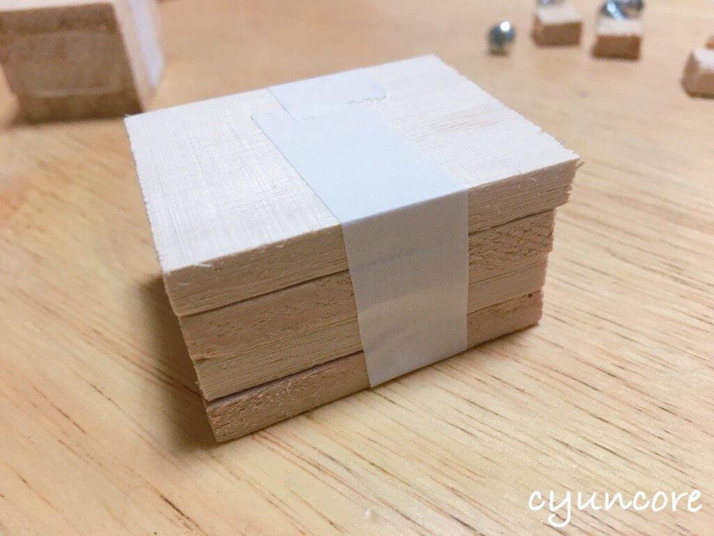 100均木材の端材でロボットのおもちゃ作り方②頭と胴体を作る-2