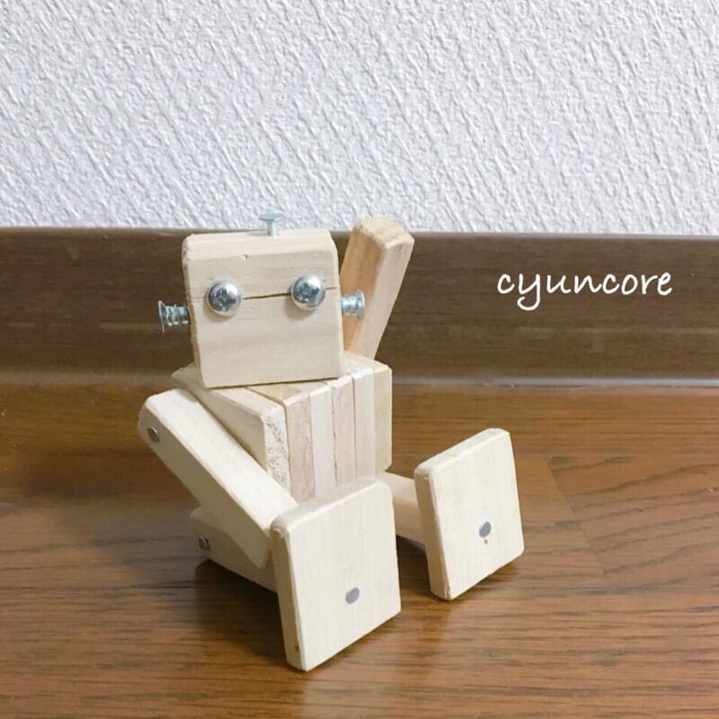 100均木材の端材で作るロボットのおもちゃ完成!-2
