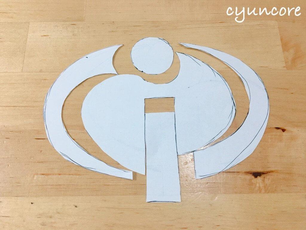 2018年ハロウィン インクレディブル・ファミリーのコスプレ作り方①ロゴの型紙を作る-3