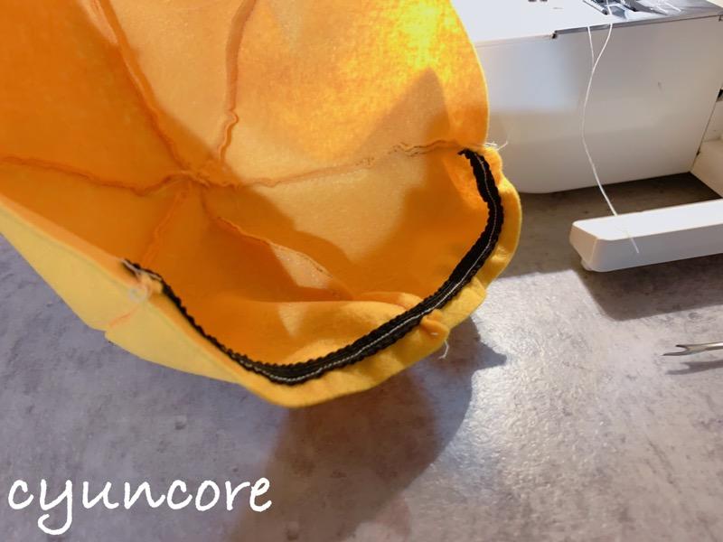 2018年ハロウィン インクレディブル・ファミリーのカツラの作り方③帽子を縫い合わせる-3
