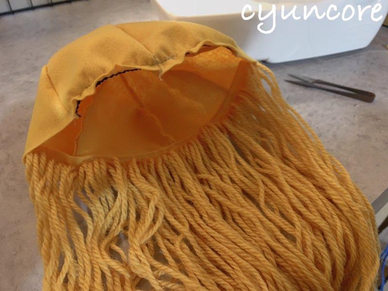 2018年ハロウィン インクレディブル・ファミリーのカツラの作り方⑤フェルトを帽子に縫い付ける