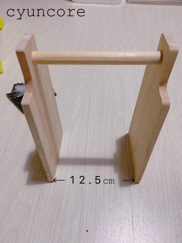 トングとトレー置き場の作り方②底面と背面の木板を取り付ける