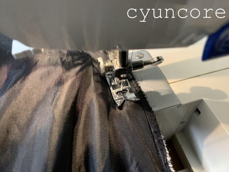 自転車用防寒カバーの作り方②アームホールを縫い合わせる-2