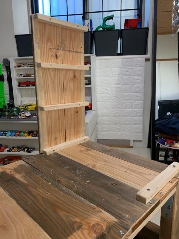 キッズデスクの作り方③デスク棚を組み立てる-3