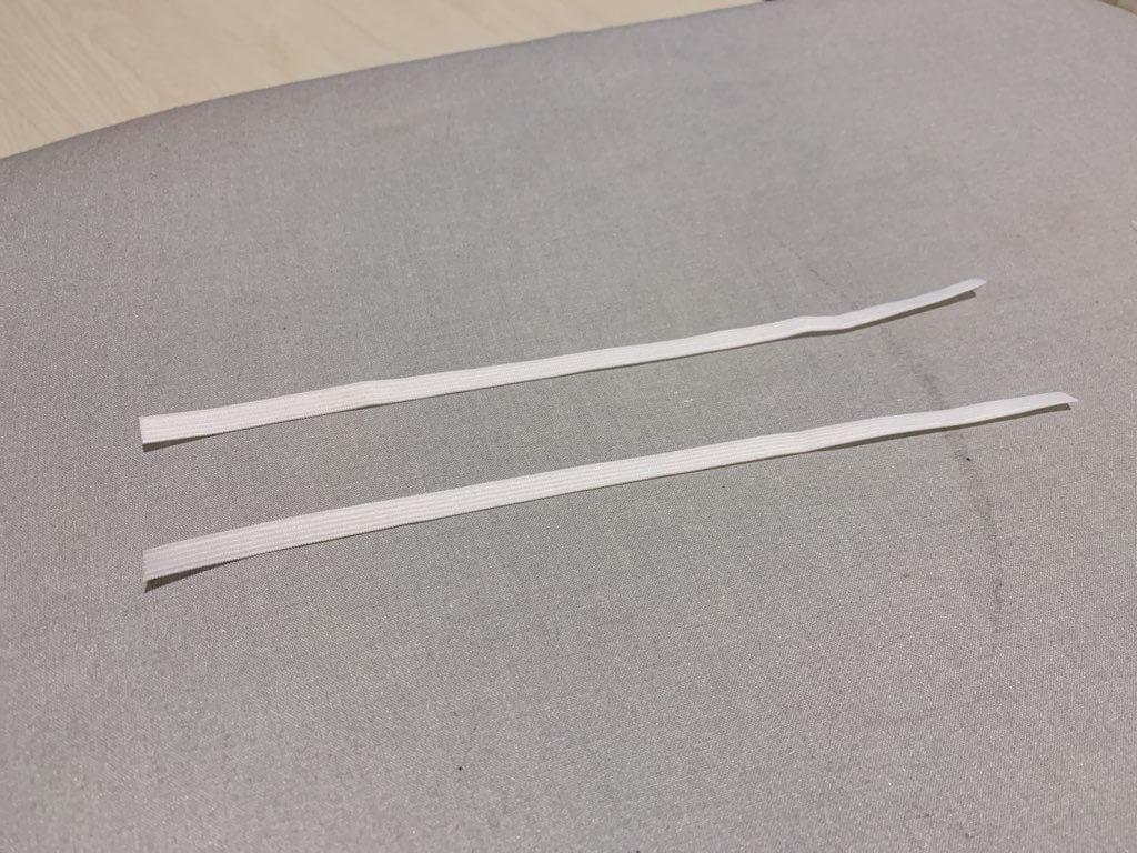 キッズ用折りたたみマスクの作り方⑤耳にかけるゴム紐を入れる