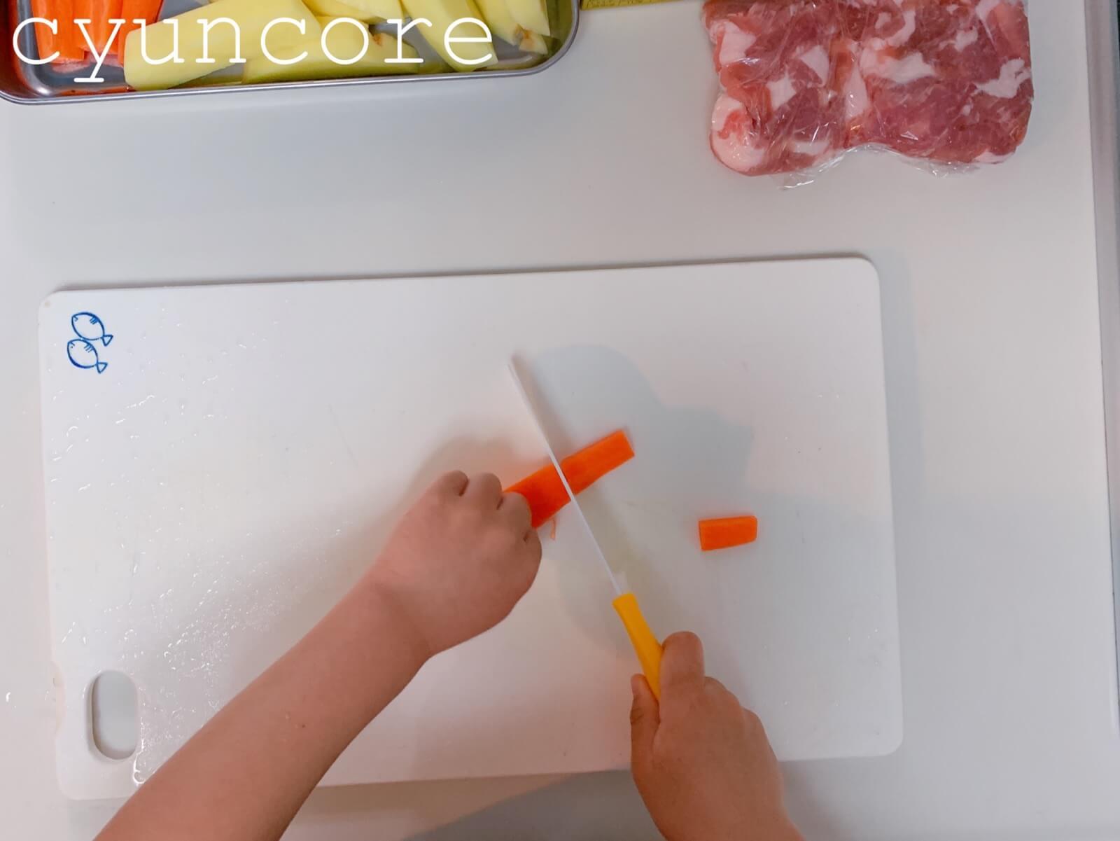 【キッズ包丁レシピ】4歳児が作る献立③カレーライスとサラダ