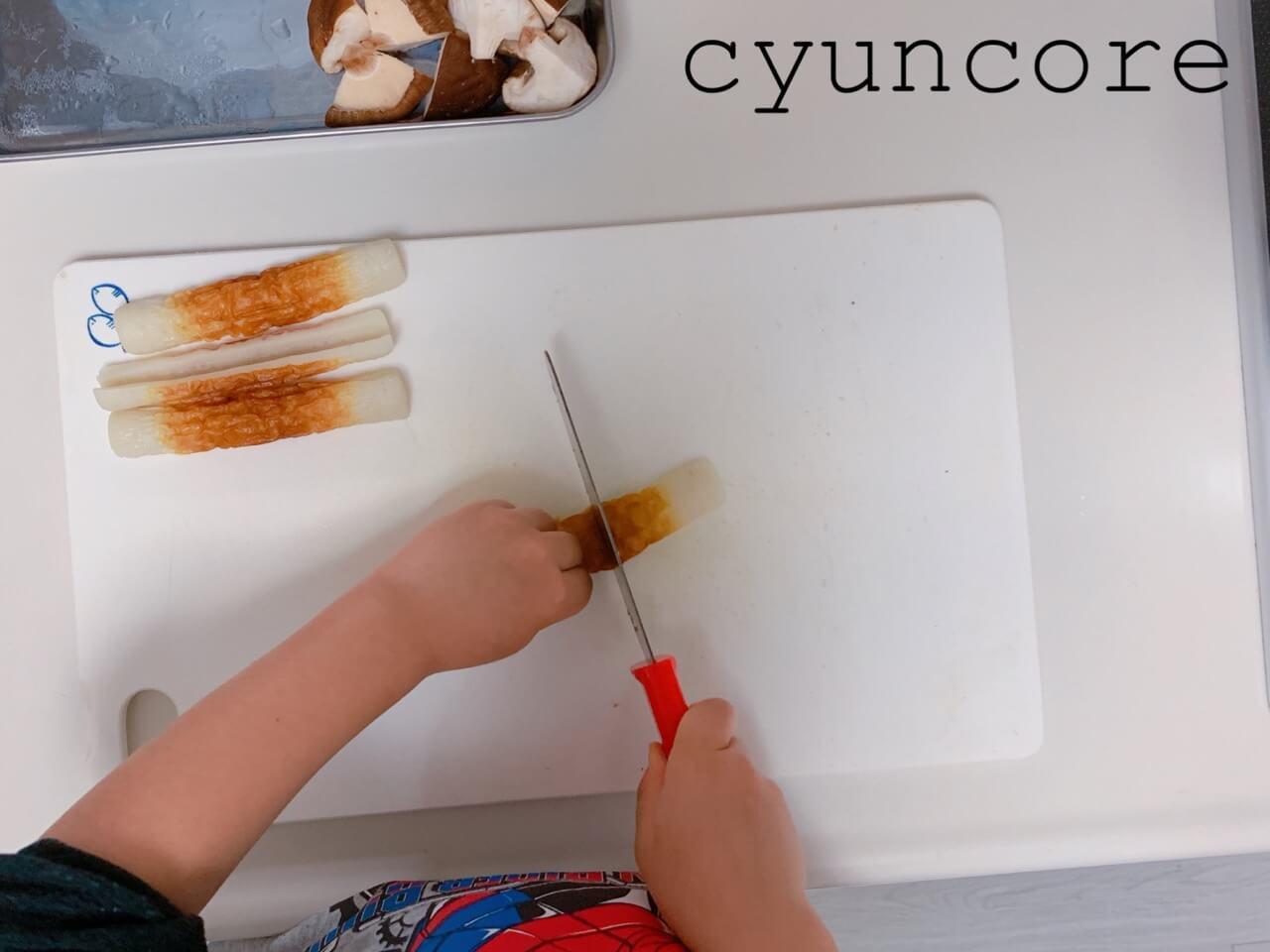 【キッズ包丁レシピ】4歳児が作る献立②メカジキの唐揚げとちくわの煮物
