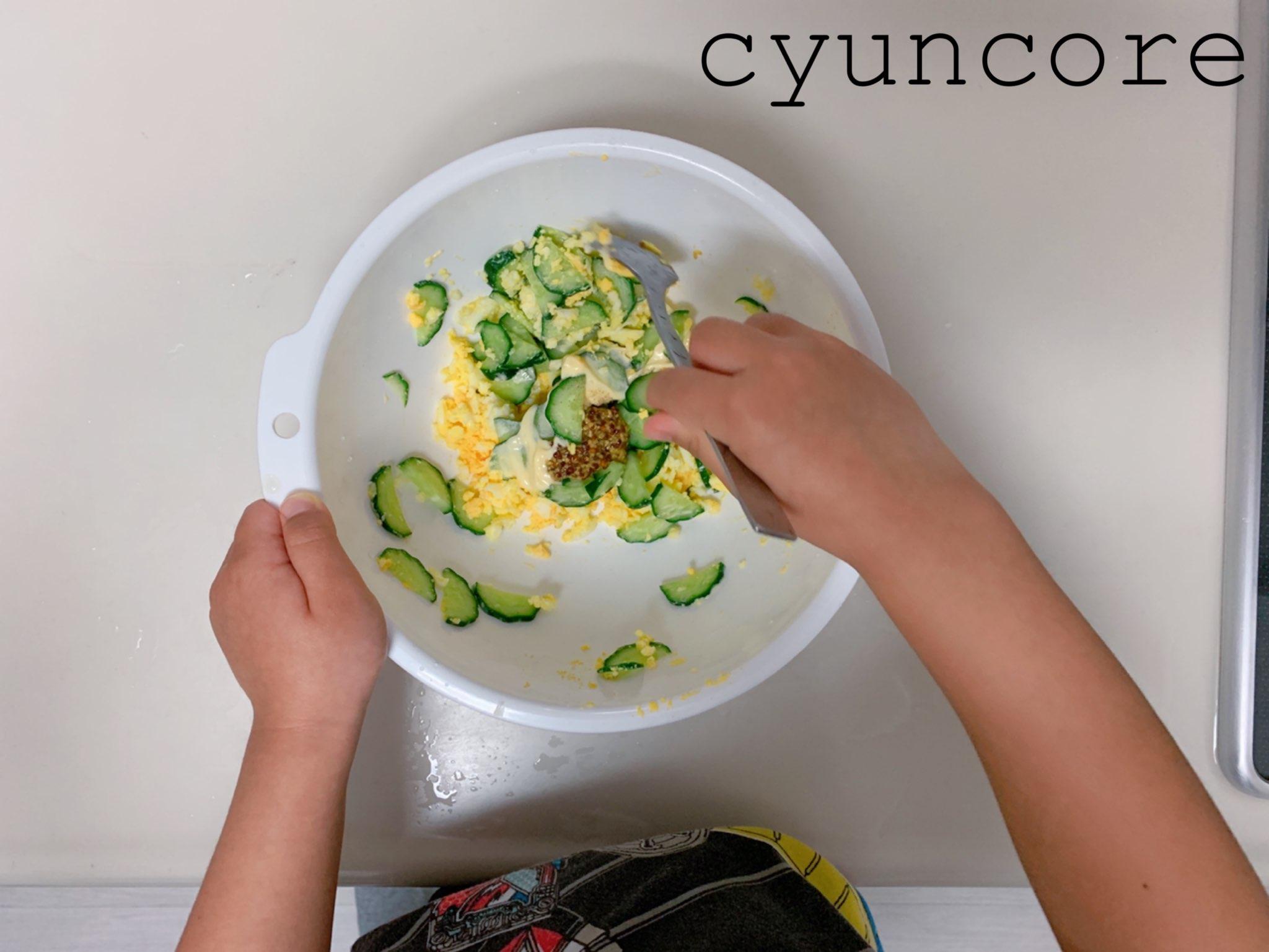 キッズ包丁レシピ②ゆで卵ときゅうりのサラダ-5