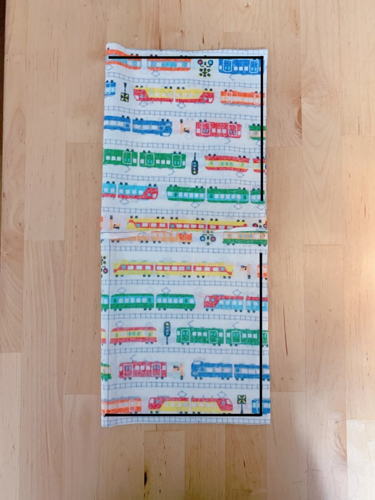 コップ袋の作り方②生地を中表に折って縫い合わせる