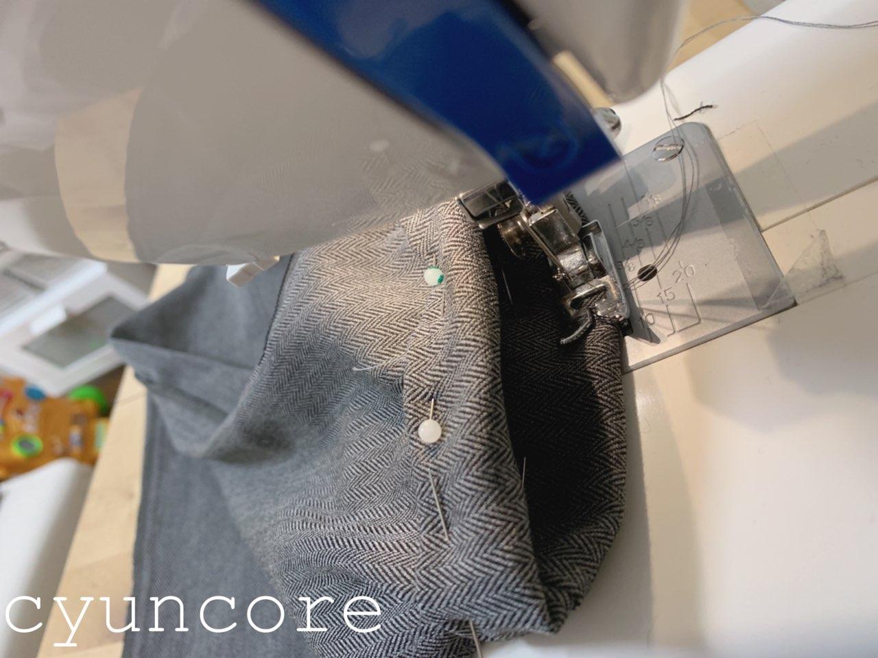 ワイドパンツリメイク④裾の処理をする