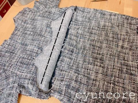 ツイードワンピースリメイク③フロントタックを解いて縫い直す-2