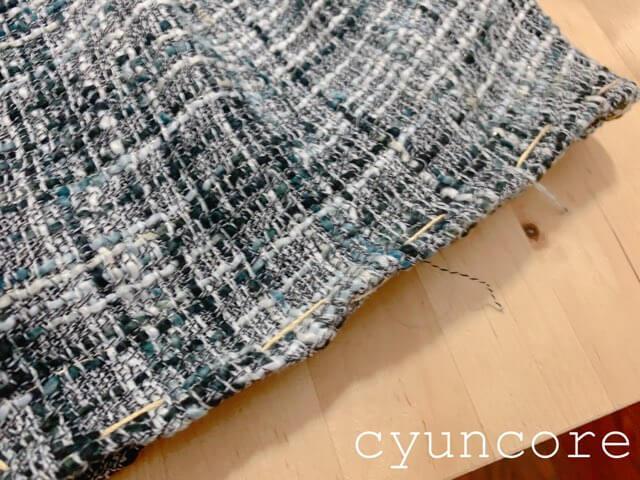 ツイードワンピースリメイク⑤裾に仕付け糸を縫いつける