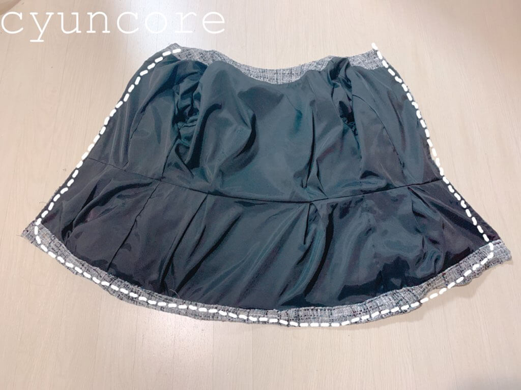 ツイードワンピースリメイク⑥前裾〜後ろ裾を縫う