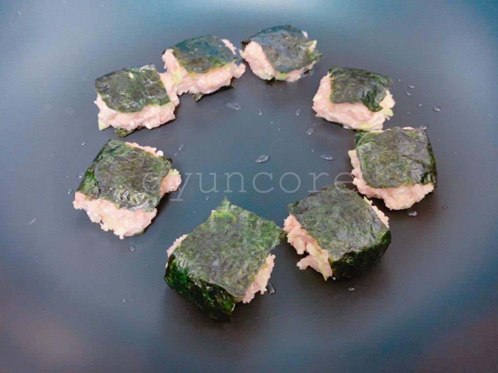 幼稚園の冷凍おかず②鶏ひき肉と豆腐の磯辺焼き風つくね-2