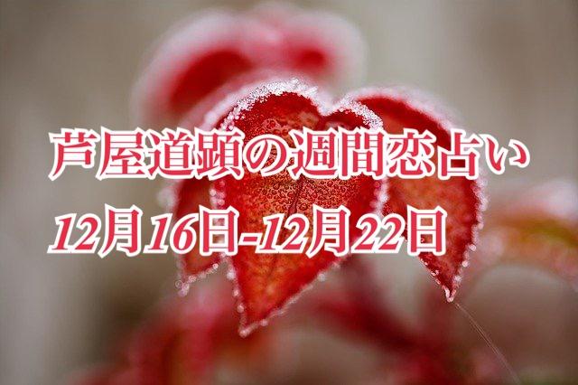 冬至☆12月16日-12月22日の恋愛運【芦屋道顕の音魂占い★2019年】