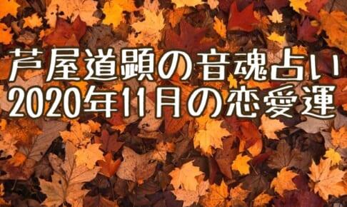 下弦の収束:11月2日-11月8日の恋愛運【芦屋道顕の音魂占い★2020年】